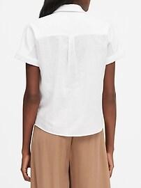 Petite Cotton Gauze Roll-Cuff Shirt