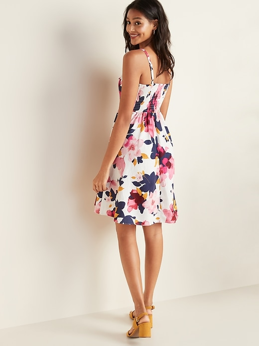 Floral-Print Tie-Front Linen-Blend Fit & Flare Cami Dress for Women