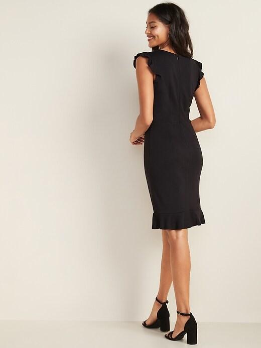 Sleeveless Ruffle-Trim Sheath Dress for Women