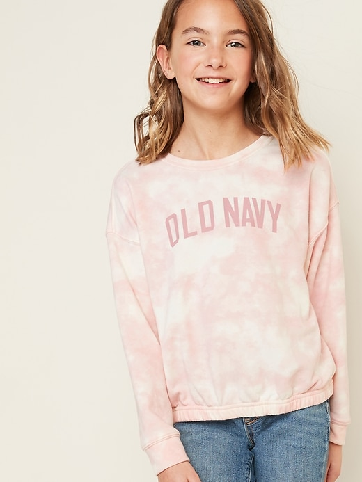 Logo-Graphic French Terry Cinched-Hem Sweatshirt for Girls