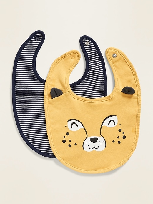 Tiger Graphic/Striped Bib 2-Pack for Baby