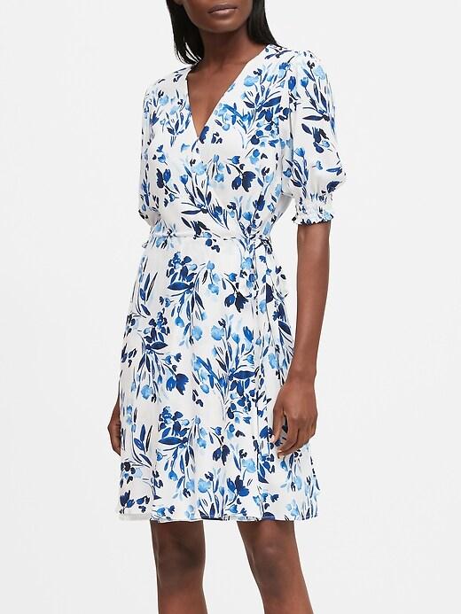 Print Wrap Mini Dress