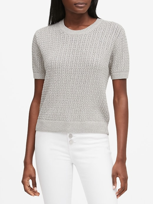Petite Metallic Pointelle Cropped Sweater