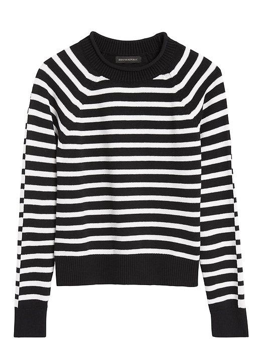 Stripe Cotton-Blend Cropped Sweater
