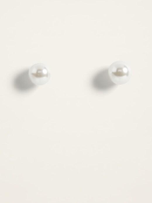 Faux-Pearl Stud Earrings For Women
