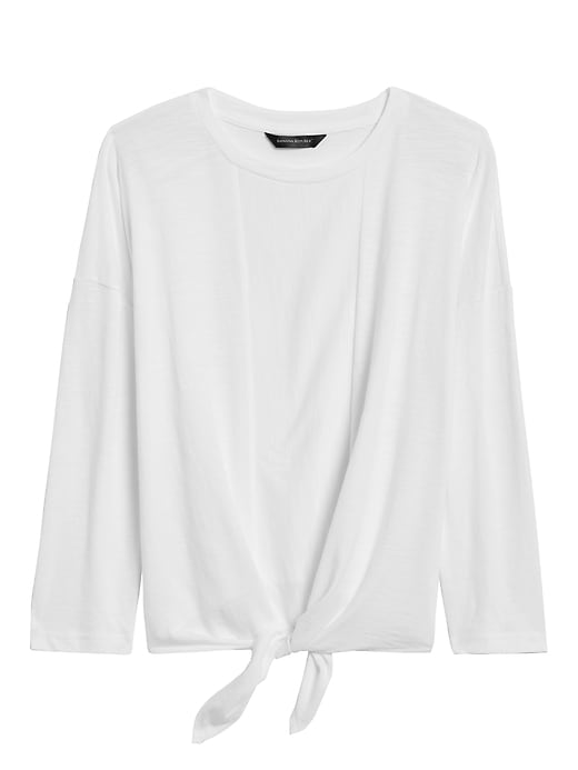 Cropped Tie-Front T-Shirt