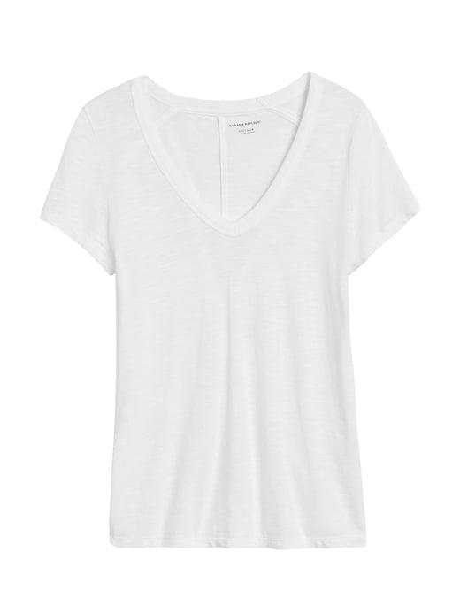 T-shirt étroit à col enV en tricot grège de coton et modal
