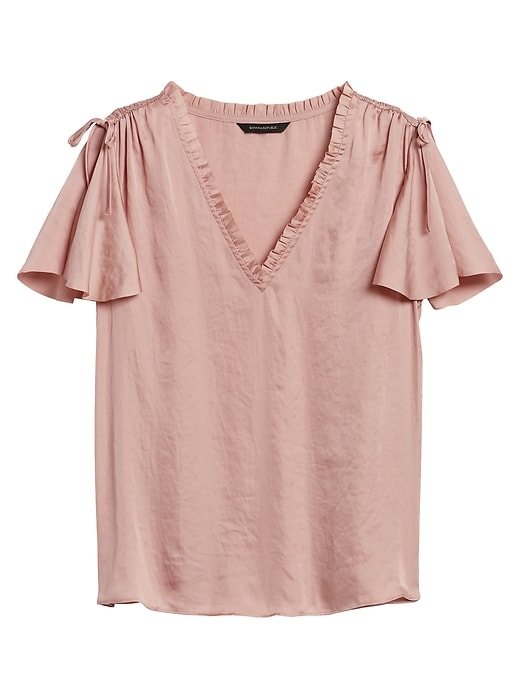 Soft Satin Flutter-Sleeve Top