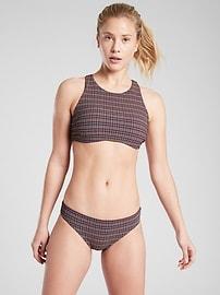 Seersucker High Neck Bikini Top
