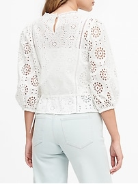 Petite Unlined Eyelet Cropped Top