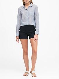 Petite Quinn Straight-Fit Cotton-Linen Shirt