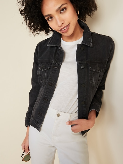 Distressed Black Jean Jacket for Women