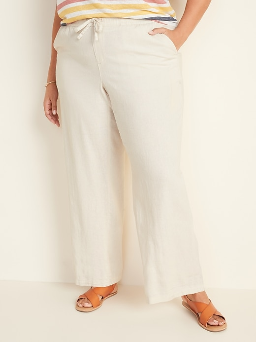 Mid-Rise Plus-Size Linen-Blend Wide-Leg Pants