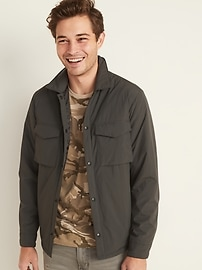 Water-Resistant Nylon Snap-Front Shirt Jacket for Men