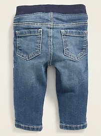 Rib-Knit-Waist Pull-On Jeans for Baby