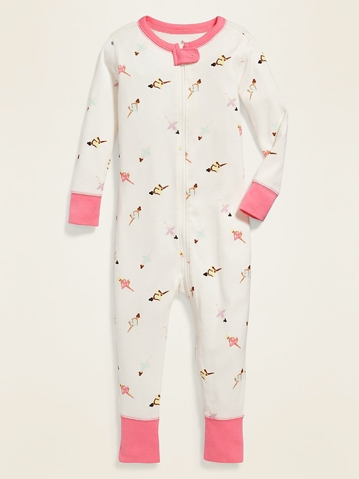Ballerina-Print Pajama One-Piece for Toddler & Baby