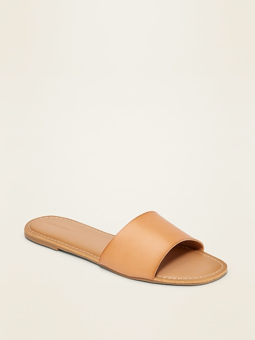 Faux-Leather Slide Sandals for Women