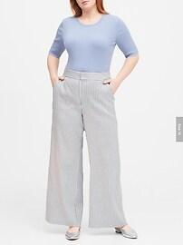 High-Rise Wide-Leg Linen-Cotton Pant