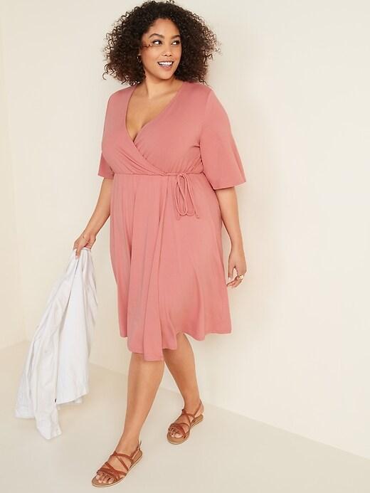 Waist-Defined Faux-Wrap Jersey Plus-Size Dress