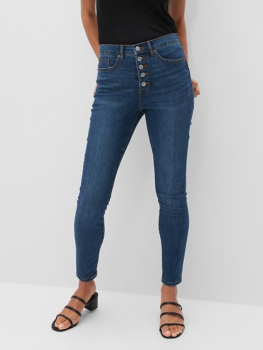 High-Rise Soft Touch Medium Wash Button-Fly Skinny Jean
