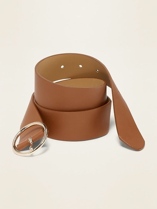 "Wide Ring-Buckle Faux-Leather Belt for Women (1 1/2"")"