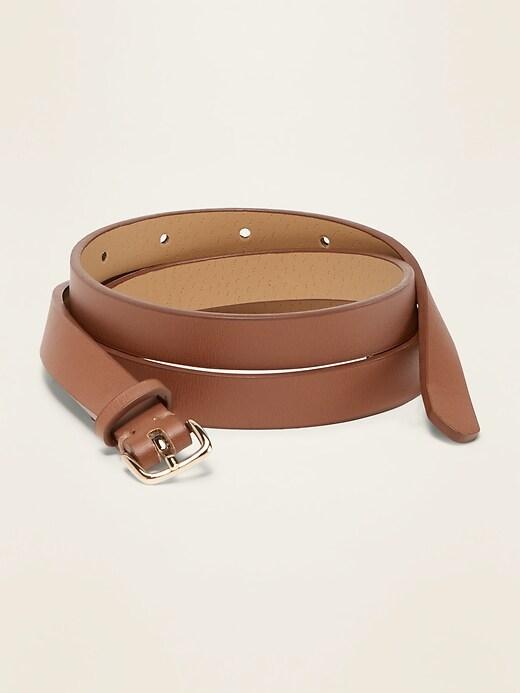 """Skinny Faux-Leather Belt for Women (1/2"""")"""