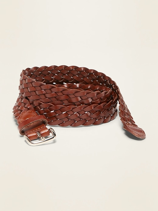 "Braided Faux-Leather Belt for Women (1"")"