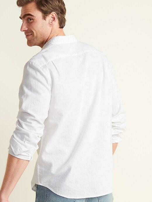 Regular-Fit Linen-Blend Long-Sleeve Shirt for Men