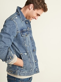 Distressed Built-In Flex Jean Jacket for Men