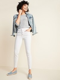 High-Waisted Button-Fly Rockstar Raw-Edge Ankle Jeans for Women