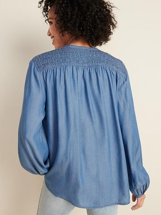 Loose Smocked-Yoke Chambray Shirt for Women