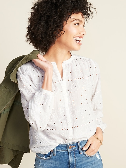 Oversized Embroidered Eyelet Button-Front Blouse for Women