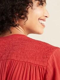 Loose Smocked-Yoke Shirt for Women
