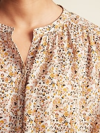 Loose Floral-Print Button-Front Blouse for Women