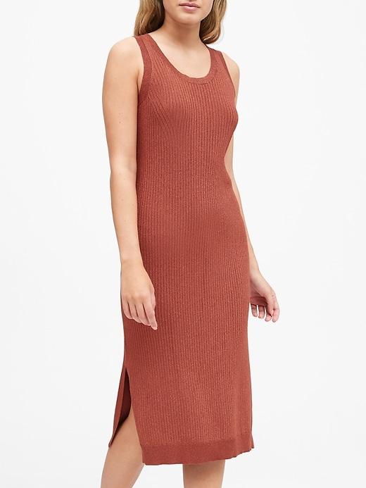Metallic Scoop-Neck Sweater Dress