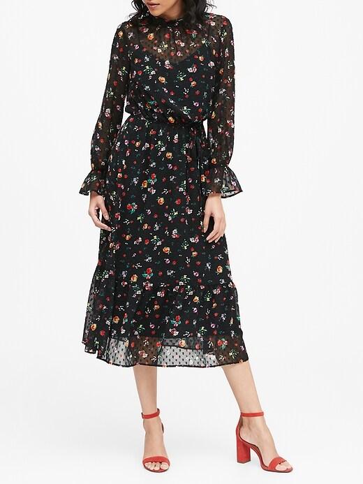 Petite Sheer Clip-Dot Midi Dress