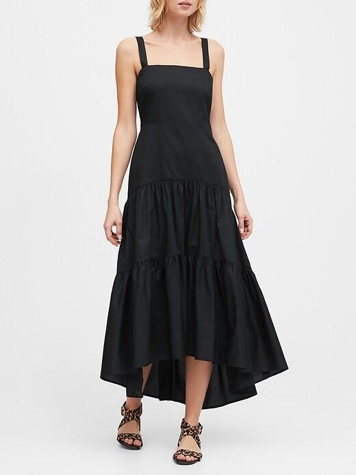 Petite Poplin Tiered Maxi Dress