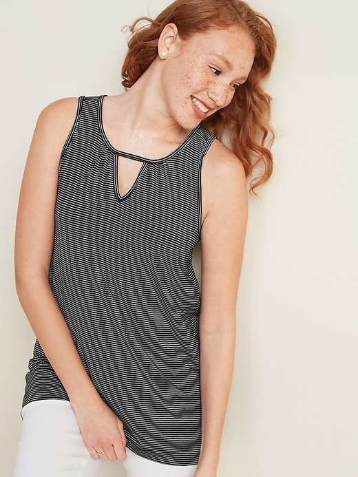 Luxe Patterned Keyhole Tunic Tank Top for Women