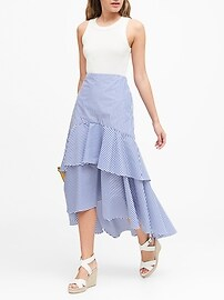 Stripe Poplin High-Low Skirt