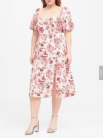 Linen-Cotton Puff-Sleeve Dress