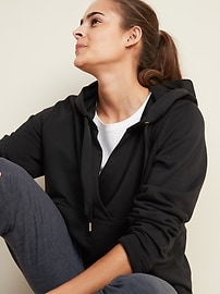 Loose Cross-Front French-Terry Hoodie for Women