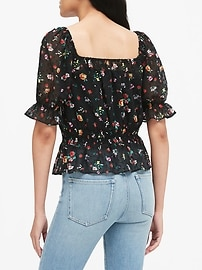 Floral Clip-Dot Cropped Top