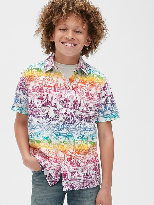 Kids Graphic Button-Down Shirt