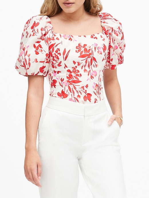 Petite Puff-Sleeve Cropped Top