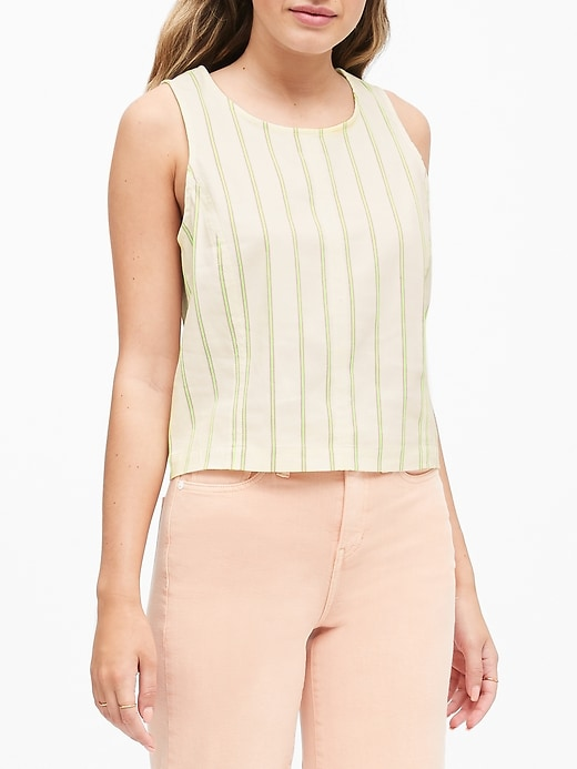 Petite Cotton-Linen Blend Cropped Shell