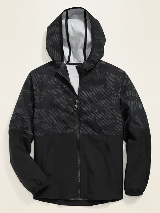 Color-Blocked Built-In Flex Hooded Zip Jacket for Boys