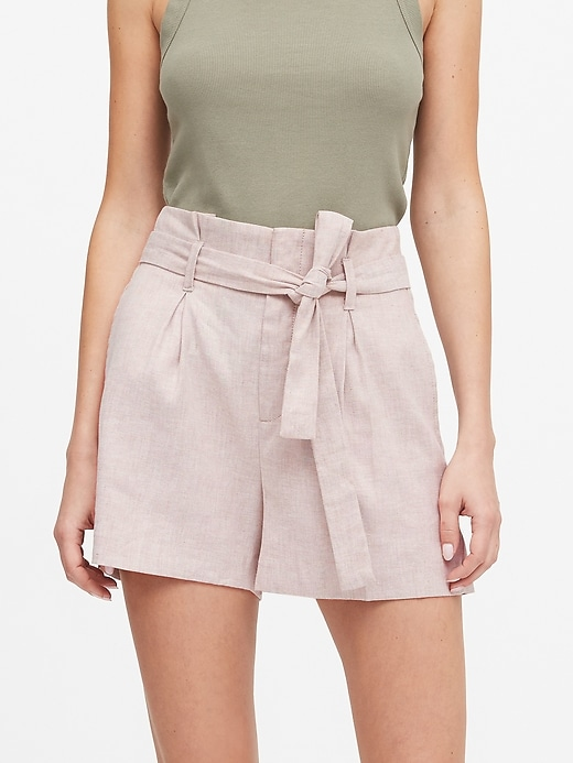 "Petite Linen-Cotton Paperbag Waist 4"" Short"