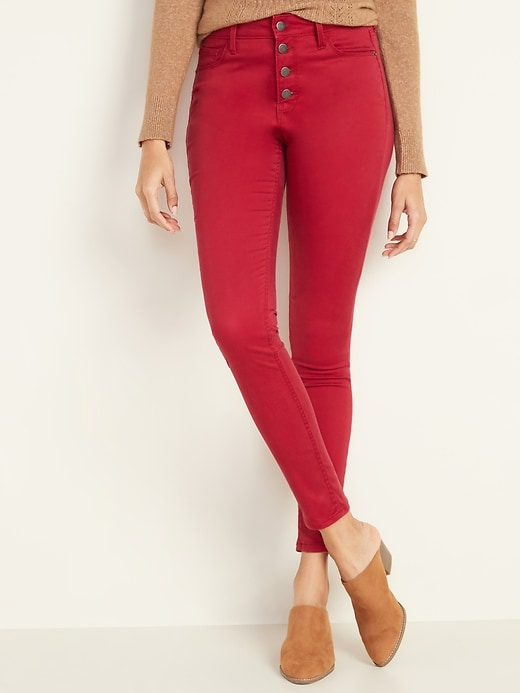 High-Waisted Button-Fly Sateen Rockstar Super Skinny Jeans for Women