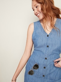 Sleeveless Fit & Flare Chambray Button-Front Dress for Women