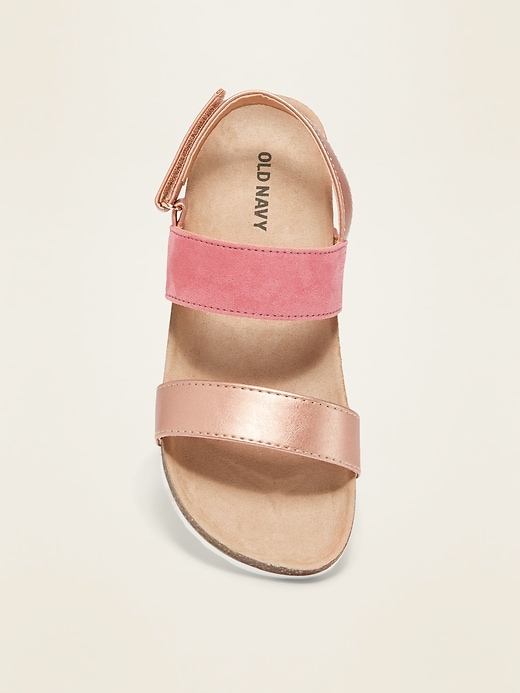 Faux-Suede/Faux-Leather Color-Block Sandals for Girls